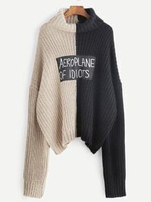 Color Block Roll Neck Drop Shoulder Letter Patch Sweater