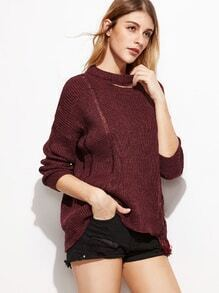 Burgundy Dropped Shoulder Seam Cutout Neck Distressed Sweater