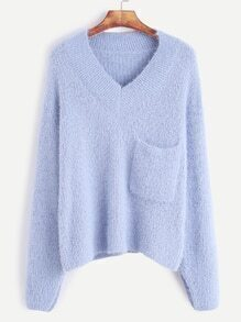 Light Blue V Neck Pocket Fuzzy Sweater
