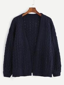 Navy Dropped Shoulder Seam Cable Knit Sweater Coat
