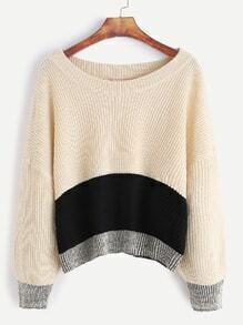 Color Block Dropped Shoulder Seam Sweater