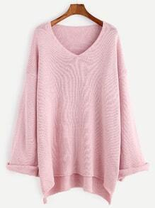Pink V Neck Drop Shoulder High Low Cuffed Sweater