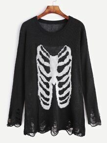 Black Drop Shoulder Bone Pattern Distressed Sweater