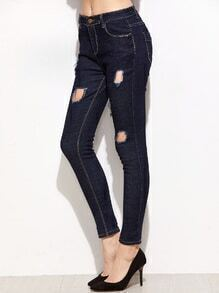 Dark Blue Ripped Skinny Ankle Jeans