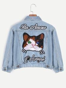 Light Blue Cat Embroidery Patch Back Crop Denim Jacket