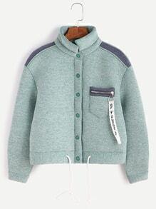 Pale Green Contrast Trim Zip Detail Drawstring Hem Jacket