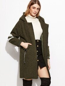 Army Green Contrast Trim Zipper Hooded Sherpa Coat
