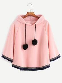 Pink Fringe Embroidered Tape Hem Pom-pom Hooded Poncho Coat