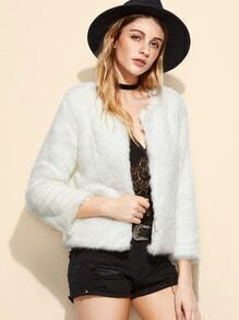 White Faux Fur Plain Coat