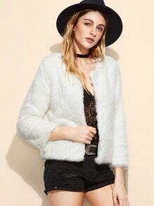 White Faux Fur Plain Coat