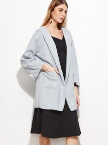 Pale Grey Dual Pocket Front Hooded Coat