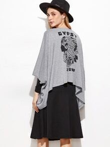 Heather Grey Print Back Drape Front Asymmetric Hem Coat