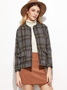 Dropped Shoulder Seam Plaid Single Breasted Coat