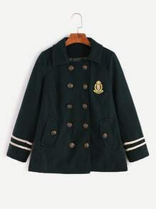 Dark Green Varsity Striped Badge Patch Double Breasted Coat