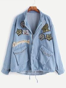 Blue Embroidered Patches Studded Embellished Drawstring Denim Coat