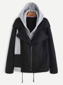 Black Contrast Drawstring Hooded Zipper 2 In 1 Coat