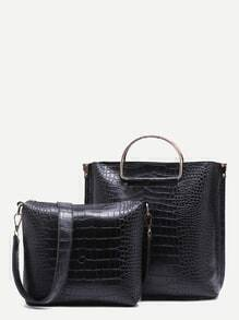 Black Croc Embossed PU Handbag With Crossbody