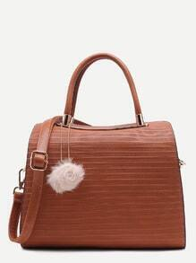 Brown Pom Pom Embossed PU Bowling Bag