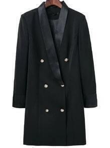 Black Shawl Collar Double Breasted Long Blazer