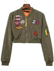 Army Green Embroidery Patch Crop Jacket