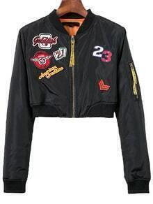 Black Embroidery Patch Crop Jacket