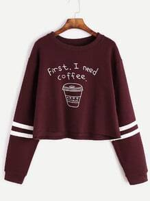 Burgundy Printed Striped Trim Crop Sweatshirt