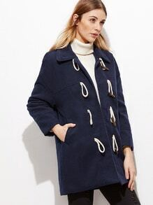 Royal Blue Wool Blend Duffle Coat