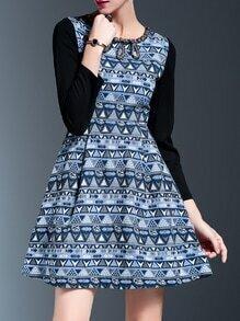 Multicolor Beading Zigzag Print A-Line Dress