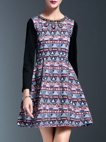 Multicolor Beading Zigzag Print A-Line Dress