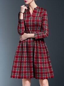 Red V Neck Check Print Belted A-Line Dress