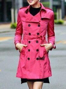 Hot Pink Lapel Belted Pockets Coat