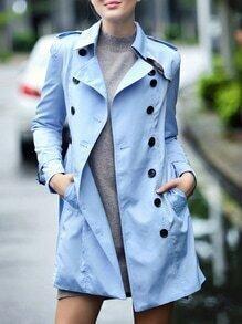 Blue Lapel Belted Pockets Coat