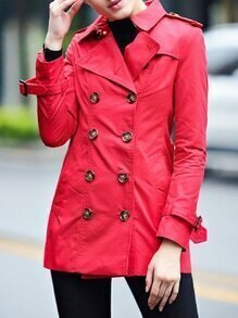 Red Lapel Belted Pockets Coat