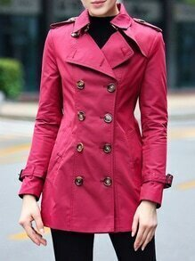 Purple Lapel Belted Pockets Coat