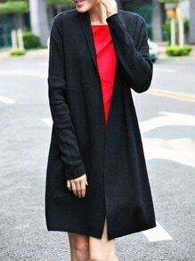 Black Pockets Long Cardigan