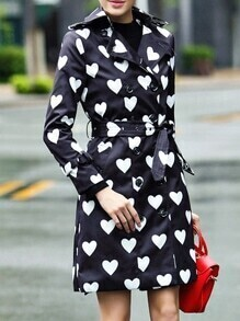 Black Lapel Hearts Print Belted Coat