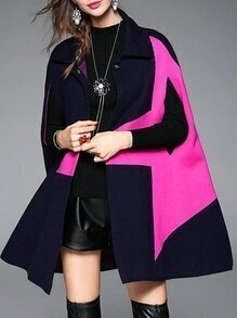 Navy Lapel Star Print Cape Coat