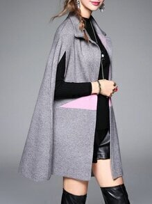 Grey Lapel Star Print Cape Coat
