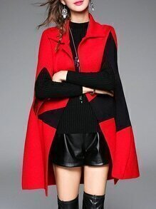 Red Lapel Star Print Cape Coat