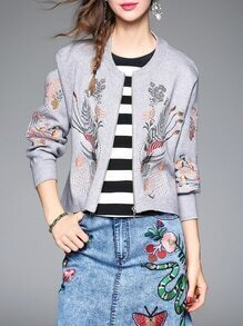 Grey Leaves Embroidered Zipper Knit Coat