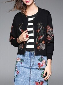 Black Leaves Embroidered Zipper Knit Coat
