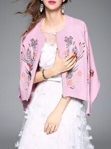 Pink Leaves Embroidered Zipper Knit Coat