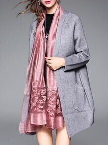 Grey Bird Embroidered Pockets Cardigan