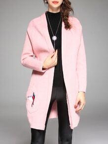 Pink Bird Embroidered Pockets Cardigan