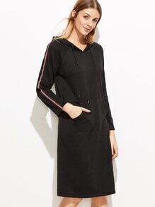 Black Raglan Sleeve Tape Side Hooded Pocket Sweatshirt Dress