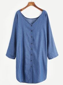 Blue V Neck Button Denim Shirt Dress