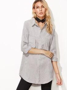 Light Grey Corduroy Drop Shoulder Pockets Blouse