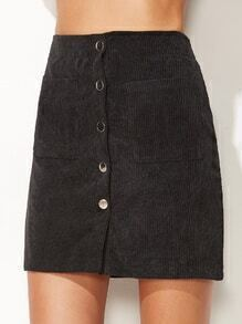 Dark Grey Corduroy Single Breasted Dual Pocket Front Skirt