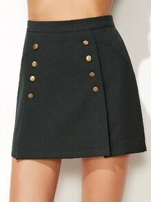 Dark Green Double Breasted Zipper Back A Line Skirt