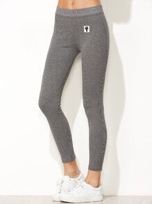Light Grey Cat Patch Stretch Leggings